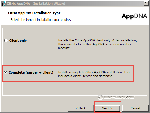 AppDNA 7 Installation Component Option