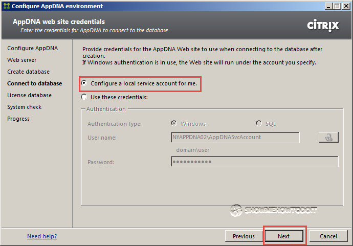 AppDNA 7 Database Credentials
