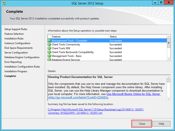 SQL 2012 Express Installation Completion