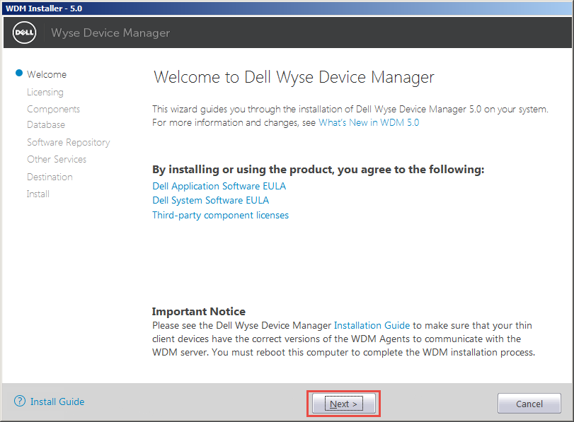 Wyse Device Manager Welcome Screen