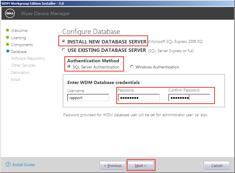 Wyse-Device-Manager-07-Configure-Database