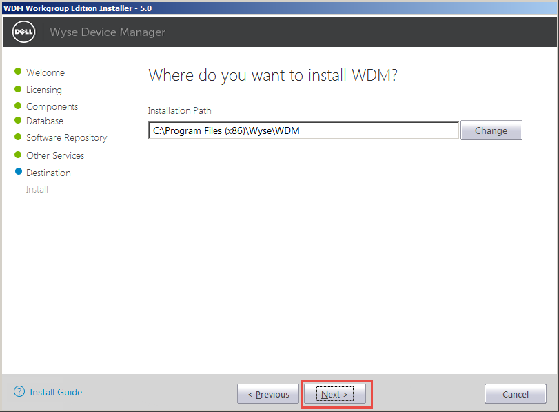Wyse Device Manager 5.0 (WDM) Workgroup Installation