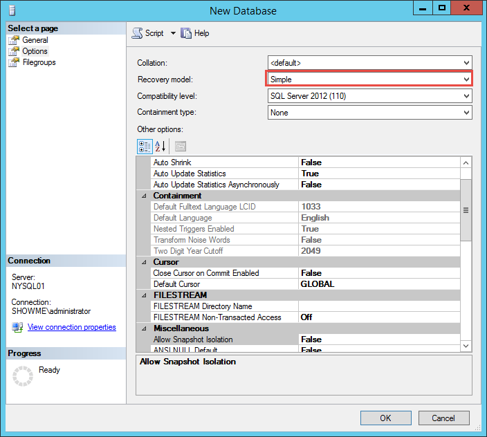 SQL Database Recovery Model