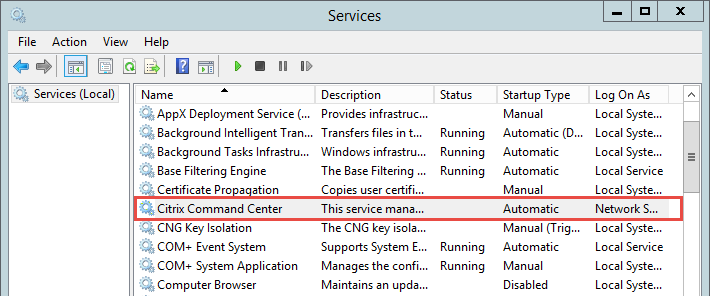 Stop Citrix Command Center Service