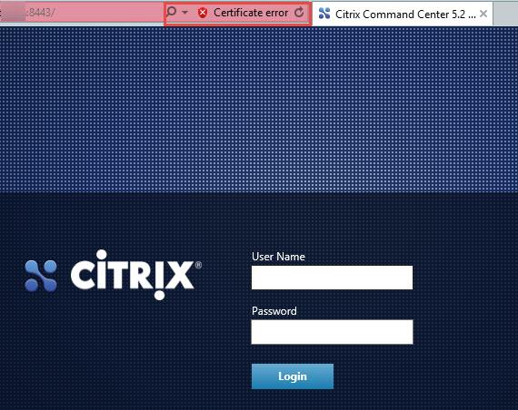 Citrix Command Center Certificate Warning