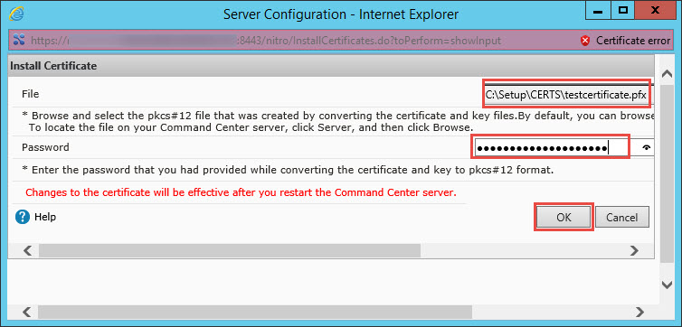 Citrix Command Center Certificate Installation