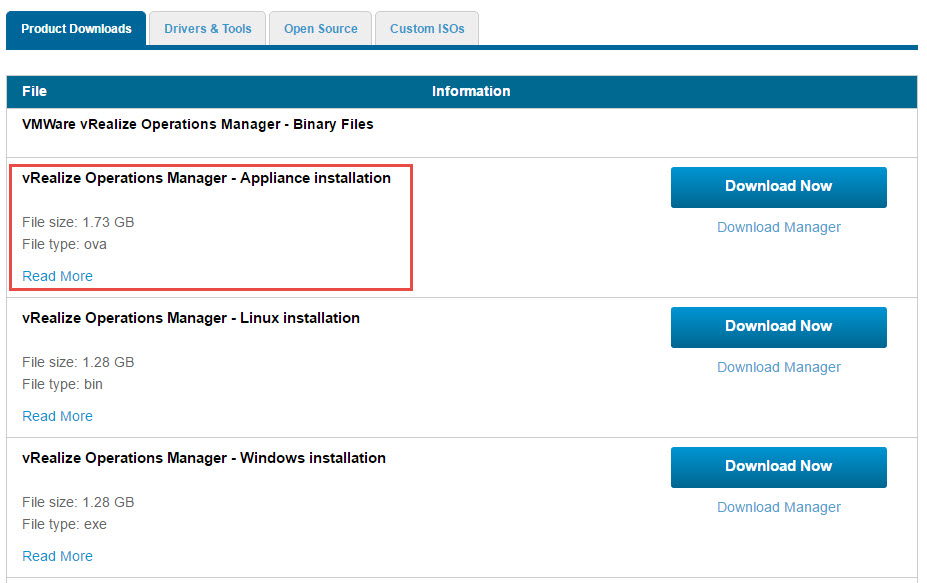vRealize Operations Manager Appliance Download